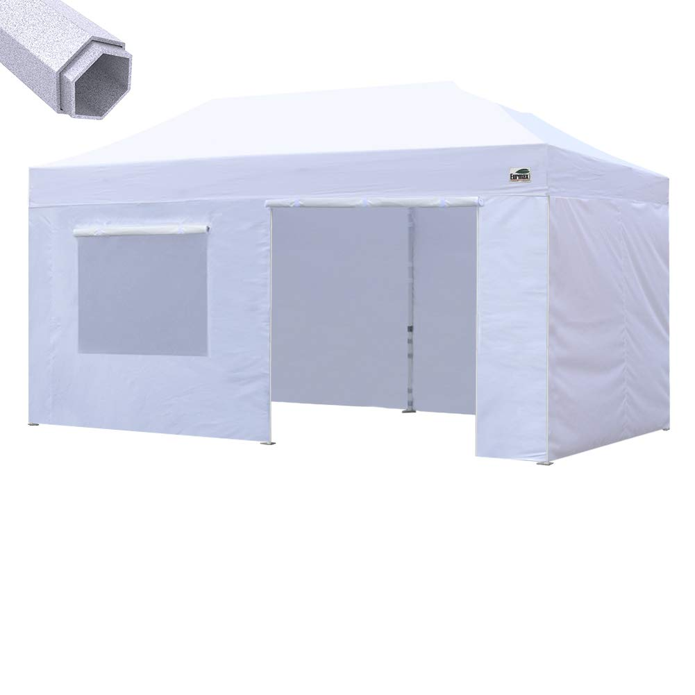 Eurmax Premium 10 x 20 Ez Pop up Canopy Instant Canopies Commercial Grade Outdoor Canopy Package Deal Party Tent Wedding Gazebo Quick shelter with 4 Sidewalls Bonus Roller Bag White