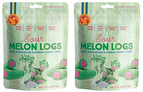 Candy People 100% Swedish Sour Melon Logs - Sour Watermelon Flavored Chewy Candy -- Non-GMO, Trans Fat Free and Gelatin Free - 2-Pack