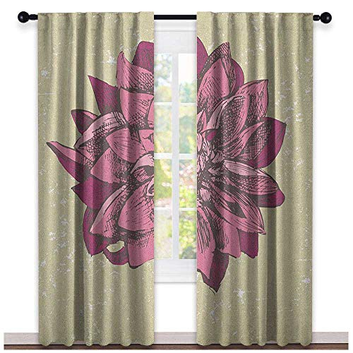 Boho Blackout Curtain Vintage Dahlia Flower with Murky Grunge Featured Background Growth Bohemian Pattern 2 Panel Sets Purple Khaki
