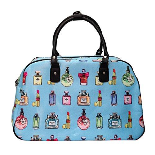 Blue Oilcloth Print Blue Perfume Ladies Holdall stripe perfume London Design Handbag Travel Weekend Sxwdvp6q