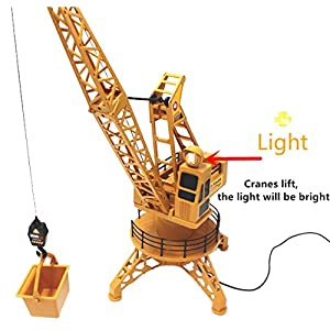 Liberty Imports RC Wired Tower Crane Construction Vehicle Playset with Up Down Lift Control and 360 Degree Rotation
