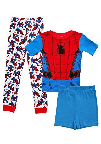 Marvel Boys' Big' Spiderman 3-Piece Cotton Pajama Set, Blue, -