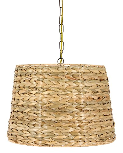 Upgradelights All Natural Woven Seagrass 16 Inch Drum Portable Swag Lampshade by Upgradelights