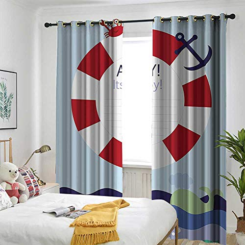 one1love Ahoy Its a Boy Simple Curtain Announcement Card Inspired Composition Maritime Funny Sea Animals Simple Stylish 72