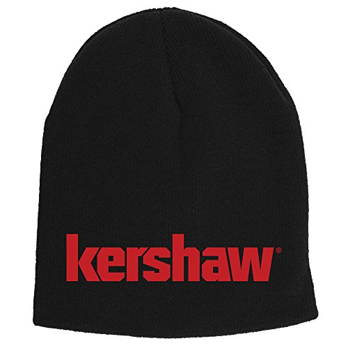 (Kershaw Two-in-One Beanie (BEANIEKER18); Made of Comfortable 100% Knitted Acrylic Material; Reversible Black Exterior with Red Knit-in Logo and Solid Red Interior; One-Size-Fits-Most; Washable)
