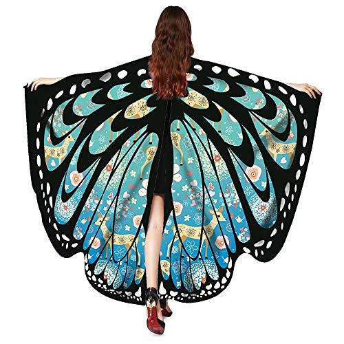 vermers Women Christmas Shawls and Wraps Fashion Butterfly Wings Shawl Scarves Poncho Costume Accessory(Sky Blue) -
