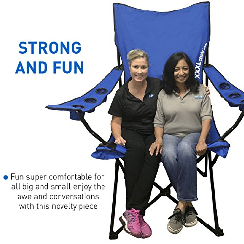 Giant Oversized Big Portable Folding Camping Beach Outdoor Chair with 6 Cup Holders! Fold Compact into Carry Bag ? Blue (Outdoor Oversized Chair)