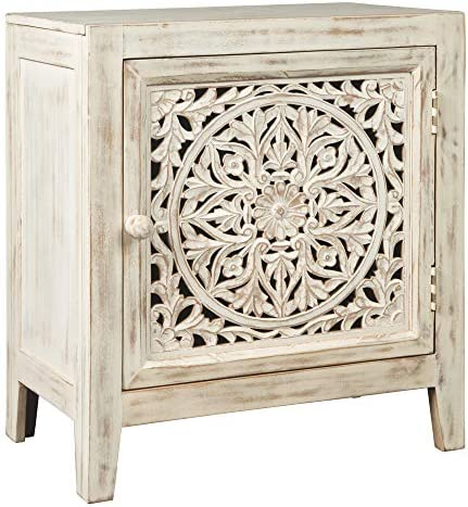 Signature Design by means of Ashley - Fossil Ridge Accent Cabinet - Boho Chic - Carved Floral Design - White