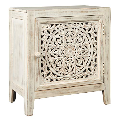 Ashley Furniture Signature Design - Fossil Ridge Accent Cabinet - White (Glass Door Nightstand)