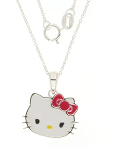 fd4491944 Hello Kitty Sanrio Head Pendant With Red Bow and Chain. Silver Pltd: Amazon. co.uk: Jewellery