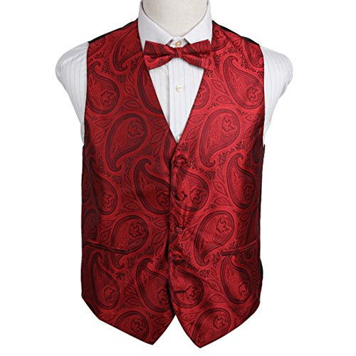 EGE2B04B-L Red Series World Patterns Microfiber Tuxedo Vest Pre-tied Bow Tie Set Classic Waistcoat By (Microfiber Tuxedo)