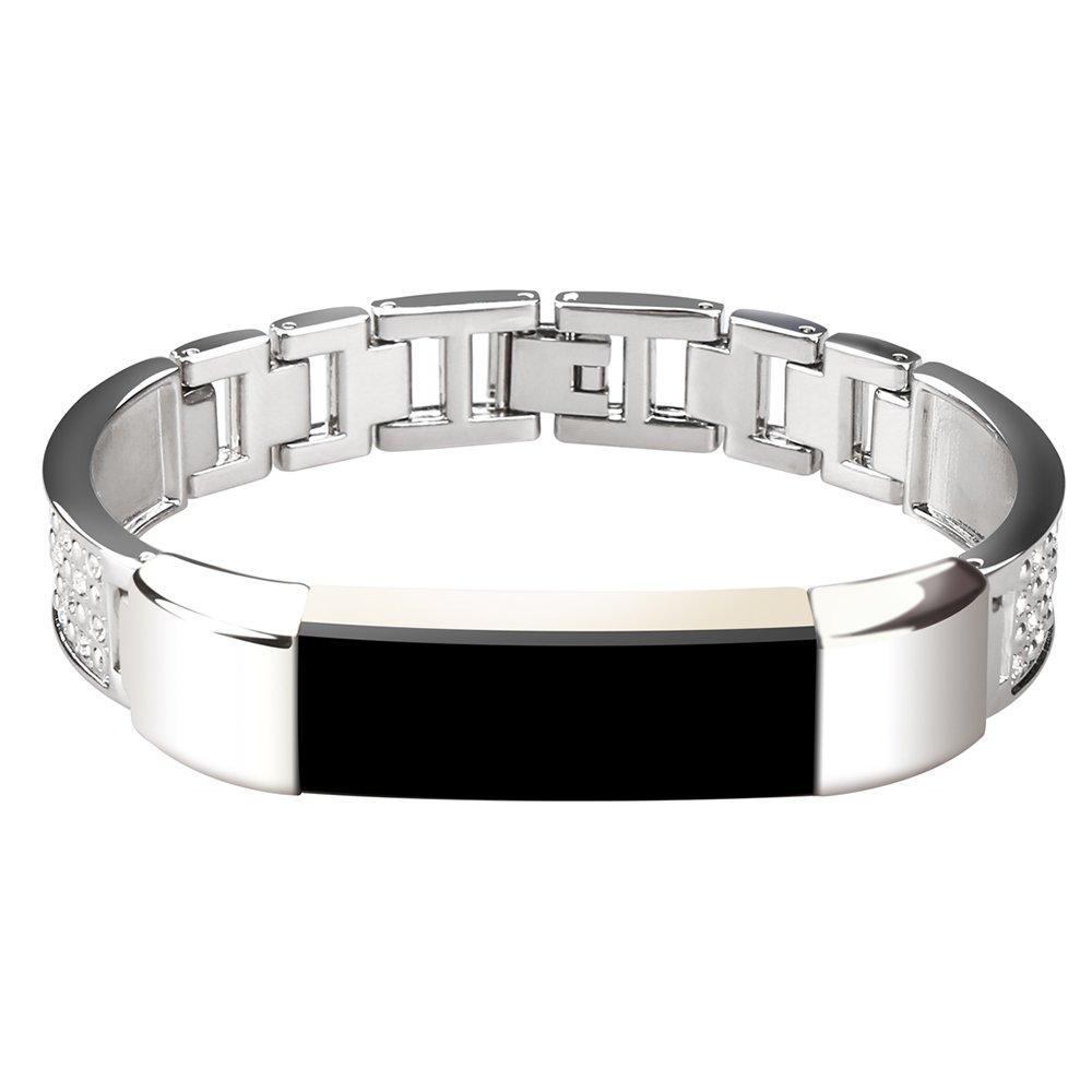 SPRINKLED BLING Silver Steel Metal Watch Band Bracelet For