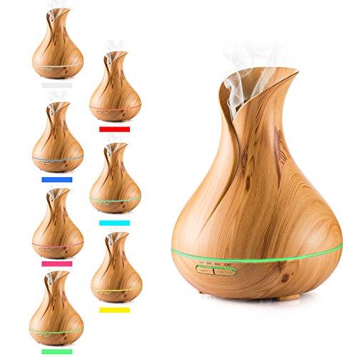 Aroma Diffuser, Lofoson Ultraschall Öl Diffusor Holzmaserung Luftbefeuchter Duftzerstäuber Humidifier 400ml mit 7 Farben LED Licht für Schlafzimmer Wohnzimmer Büro