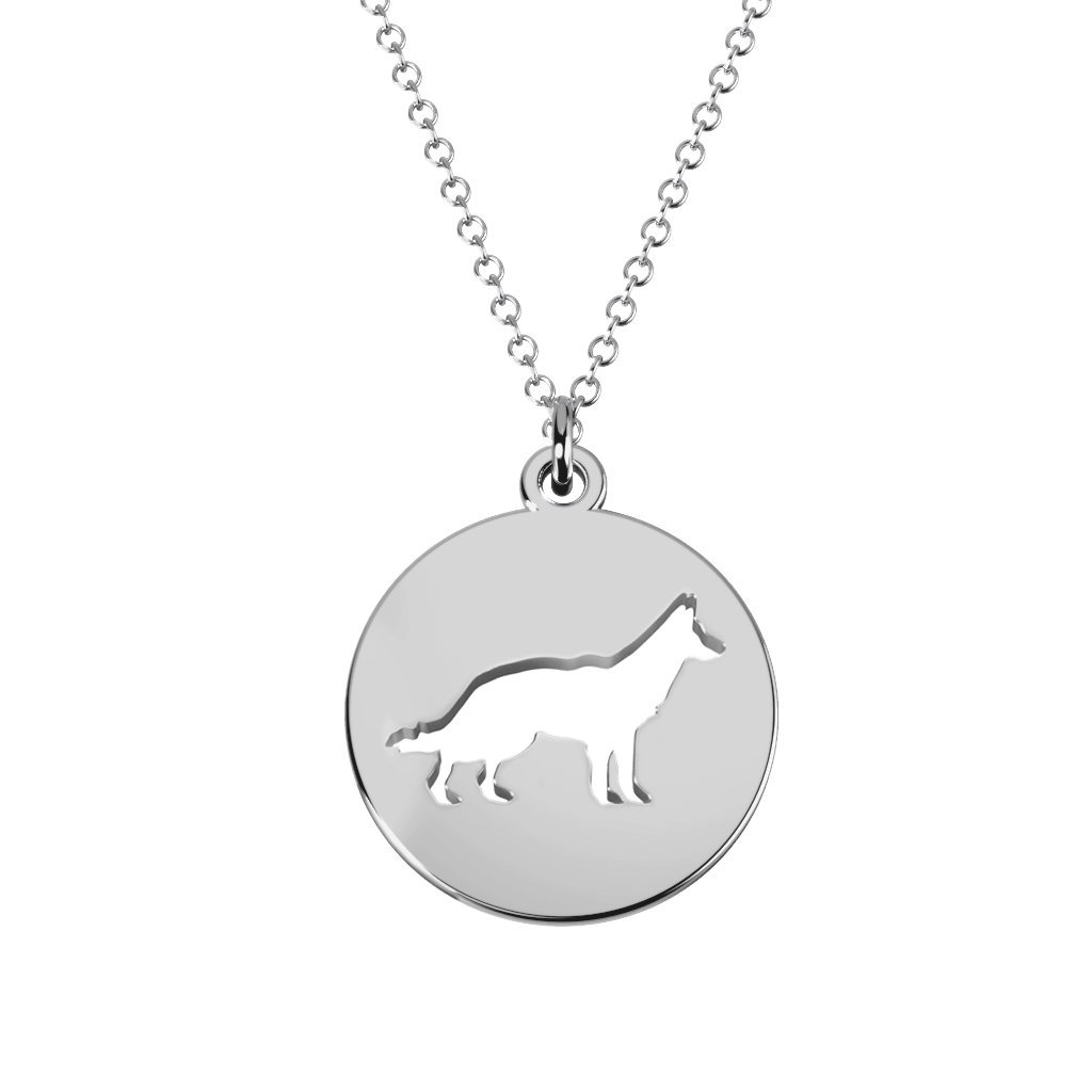 14K Gold German Shepherd Cutout Disc Necklace by JEWLR
