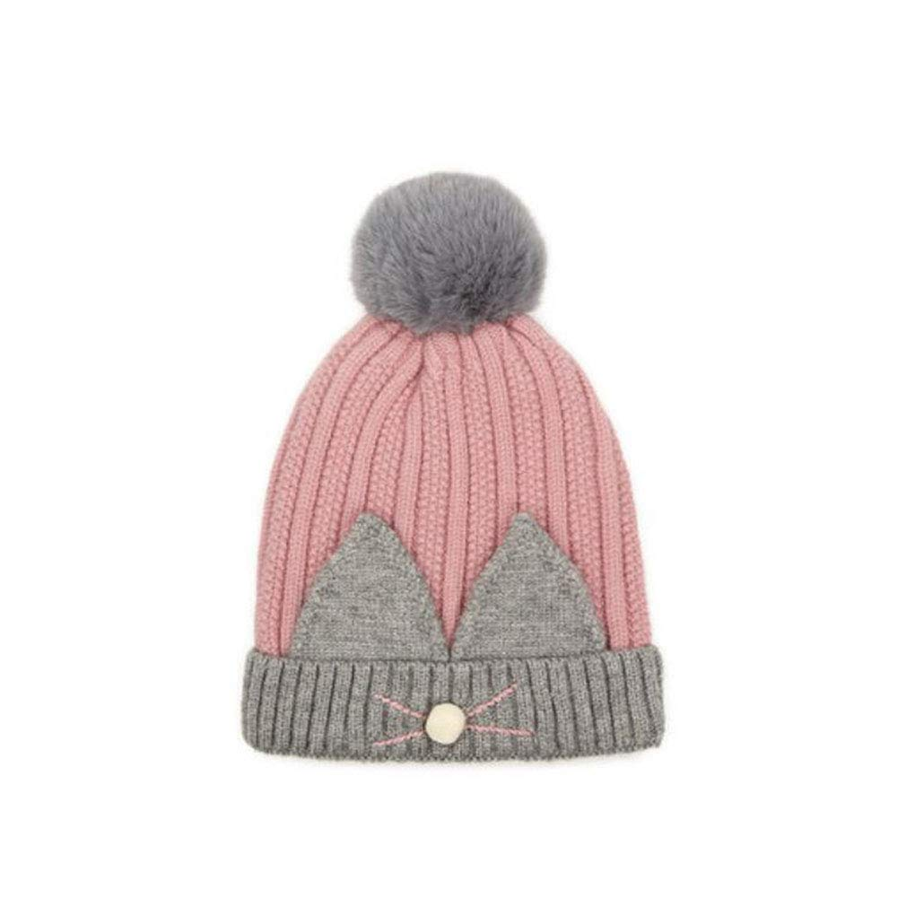 LF Niños de otoño e Invierno 6-36 Meses Niños y cálido niñas Sombrero de Punto Grueso y cálido y (Color   Light Rosa) 3b0c8b