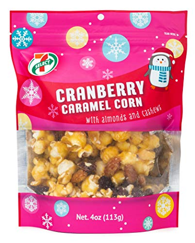 7-Select Holiday Caramel Popcorn, Cranberry, 4 Oz Resealable Bags-6 Pack