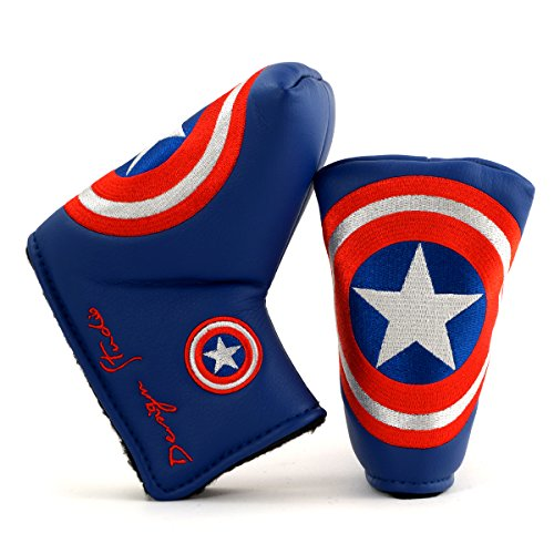 (Lion Custom Shop Captain America Golf Headcover for Midsize Mallet & Blade Putter, Blue)