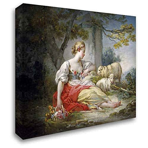 (Shepherdess Seated with Sheep and a Basket of Flowers Near a Ruin in a Wooded Landscape 44x33 Extra Large Gallery Wrapped Stretched Canvas Art by Fragonard, Jean Honore)