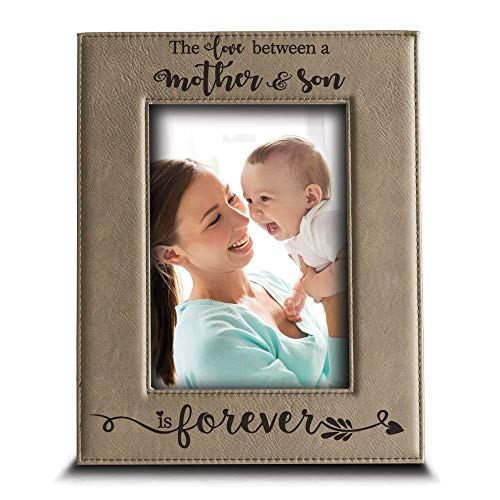 BELLA BUSTA- The Love Between a Mother and Son is Forever from Son- Mom Gifts Engraved Leather Picture Frame (5