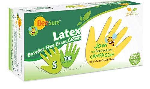 BeeSure BE2816 Latex Powder Free Exam Gloves, Small (Pack of 100)