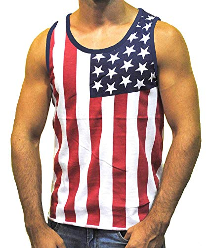 Flag Red Top White Bottom - Exist Men's American Flag Stripes and Stars Tank Top Shirt TAF06 XL White,red,Blue