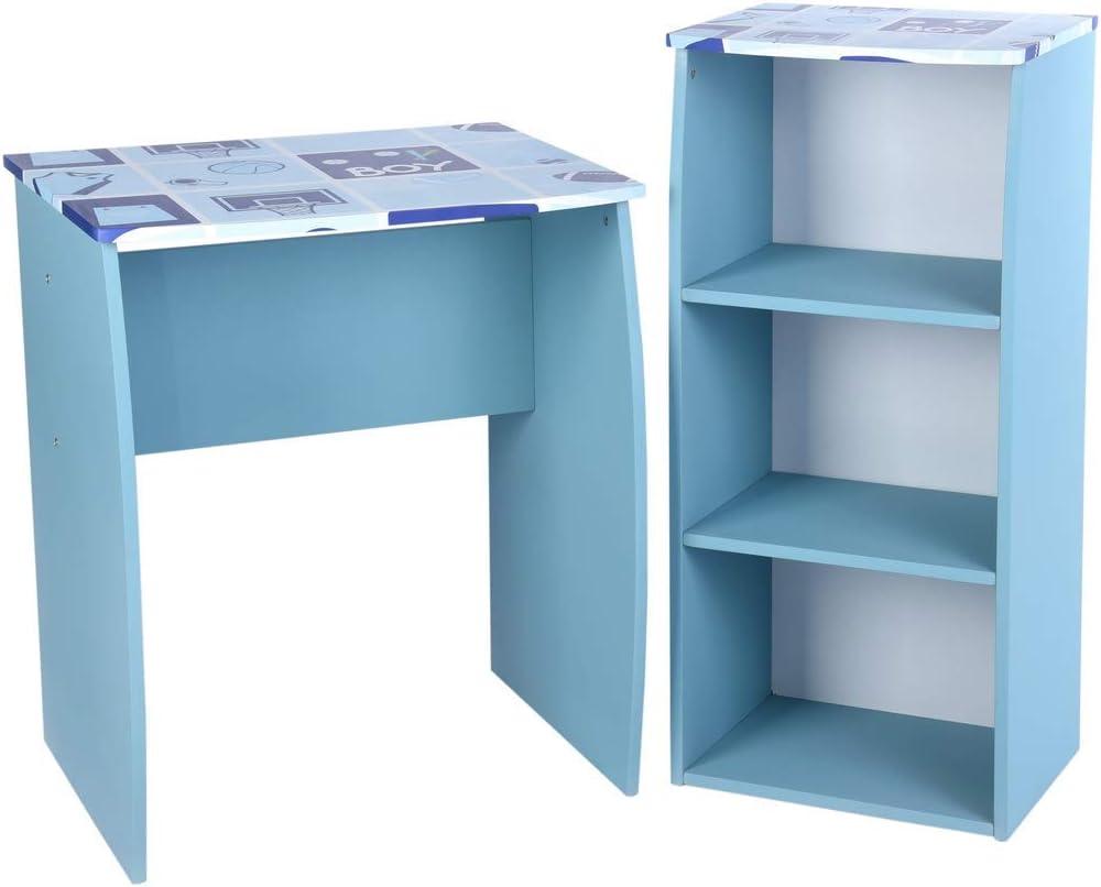 Aingoo Scrivania per Bambini Tavolo da Disegno Artigianale in Legno con scaffale di stoccaggio a 3 Livelli Blu