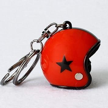 Llavero pentagrama Casco llavero metal bicicleta moto auto llavero Mode Mini colgante, Farbe, Rot/Schwarz