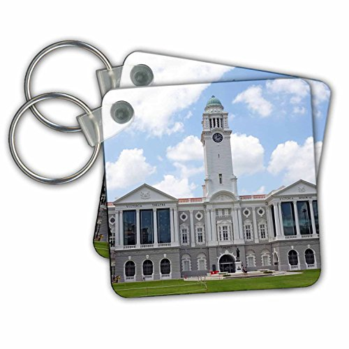 Cities Of The World - Victoria Theatre and Concert Hall, Singapore - Key Chains - set of 4 Key Chains - Singapore City Raffles