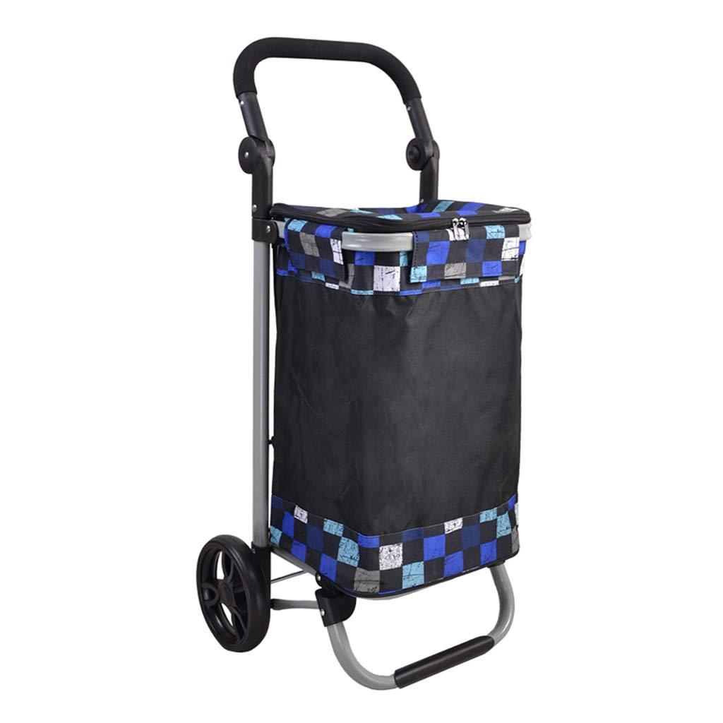 ショッピングカート ファッション折りたたみショッピングカート 老人食料品ショッピングカート 小型カート/カート携帯用トロリー 大容量 (Color : Blue)  Blue B07H3Y4L4W