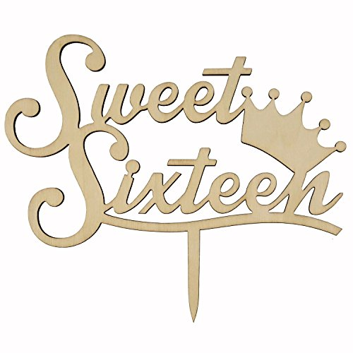 Shxstore Rustic Sweet Sixteen Monogram Cake Topper Unique Wooden 16th Birthday Anniversary Cake Topper with (Unique Sweet Sixteen Themes)