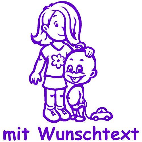 Babyaufkleber Autoaufkleber für Geschwister mit Wunschtext - Motiv G11-MJ (16 cm) MY-BABY-SHOP