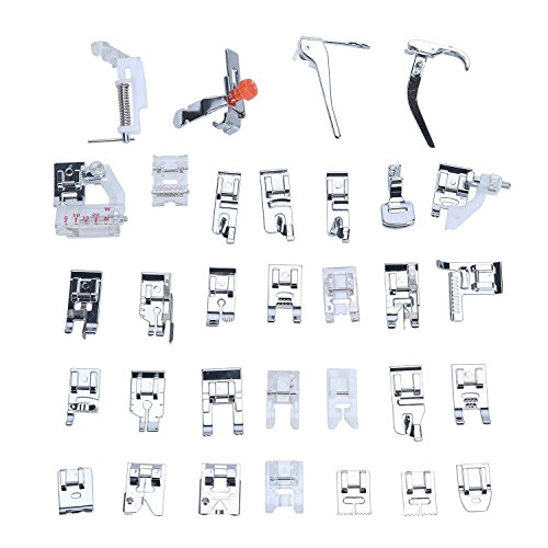 Professional Domestic 32pcs Sewing Machine Presser Feet Set for Brother, Babylock, Singer, Janome, Elna, Toyota, New Home, Simplicity, Kenmore, and White Low Shank Sewing Machines by Stormshopping (Sewing Feet Presser Machine Kit)