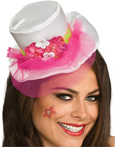 White Mini Top Hat (Women's White Mini Top Hat With Pink Veil and Flowers)
