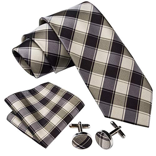 Barry.Wang Brown Plaid Check Ties for Men Business Necktie Set