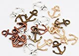 80 PC Nautical Anchor Charm Pendants Four Color 19x15mm, Sailor Navy Jewelry Making DIY