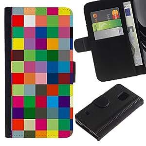 Planetar® Modelo colorido cuero carpeta tirón caso cubierta piel Holster Funda protección Para SAMSUNG Galaxy S5 V / i9600 / SM-G900 ( Checkered Vibrant Colors Texture )