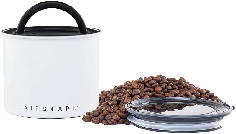 Airscape Coffee and Food Storage Canister - Patented Airtight Lid Preserve Food Freshness, Stainless Steel Food Container, Matte White, Small 4-Inch Can