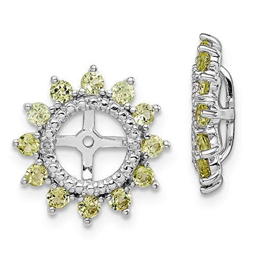 925 Sterling Silver Diamond Green Peridot Earrings Jacket Bi