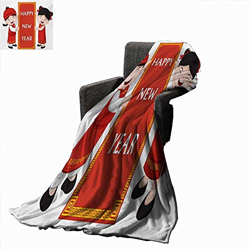 Chinese New Year Throw Blanket Cheerful Asian Children in Traditional Costumes Holding a Celebration Sign,Super Soft and Comfortable,Suitable for Sofas,Chairs,beds ()