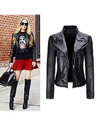 Challyhope Fashion Women Leather Moto Biker Jacket Short Coat Parka Zipper Outwear