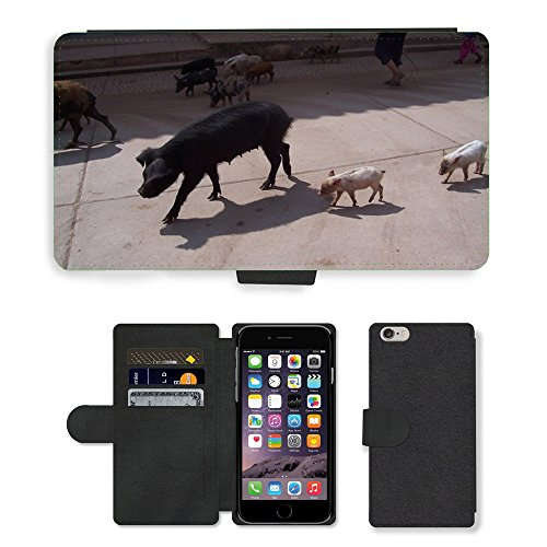 "Just Phone Cases PU Leather Flip Custodia Protettiva Case Cover per // M00128786 Swine Pig Pérou animal Piggy // Apple iPhone 6 PLUS 5.5"""