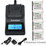 Kastar Ultra Fast Charger Kit and Battery (4-Pack) for Pentax D-LI92 Olympus LI-50B and Ricoh Pentax Optio I-10, RZ10, RZ18, WG-1, WG-1 GPS, WG-2, WG-2 GPS, WG-3, WG-3 GPS, WG-4, WG-4 GPS, WG-10, X70