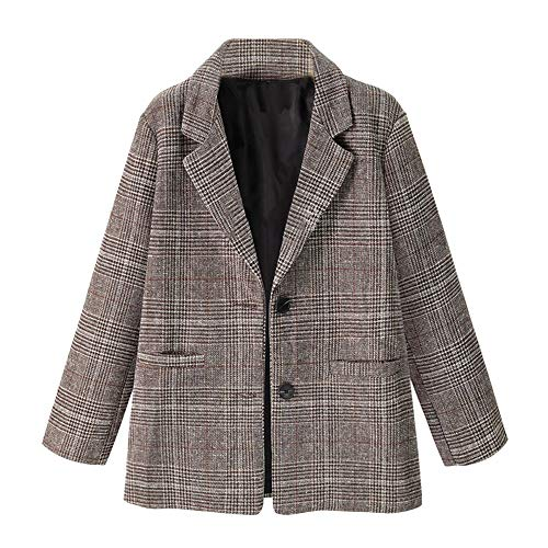 (AOJIAN Women Jacket Long Sleeve Outwear Vintage Ladies Notch Collar Plaid Coat)