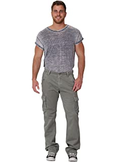 Men/'s Cargo Trousers Army Green Cargo pockets Drawstring at ankle