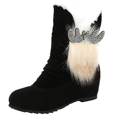 bbeaed423e84 Warm Slip-On Snow Round Toe Women Boots Ankle Cute Sexy Winter Casual  Flexible Fashion