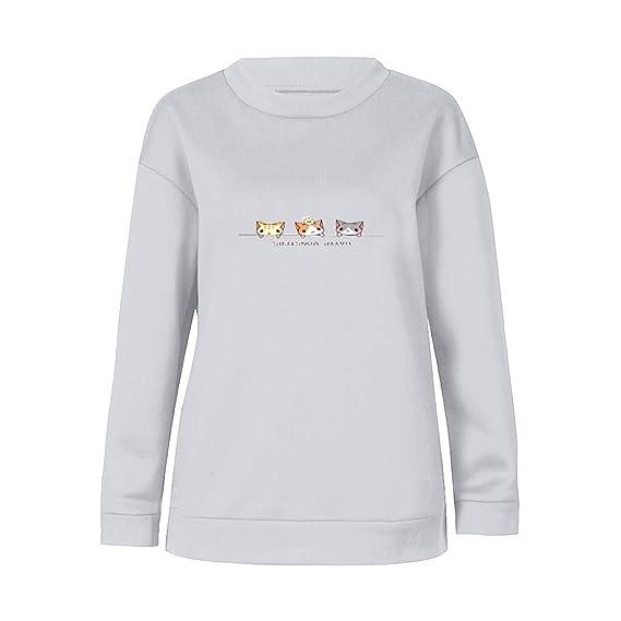 Logobeing Sudaderas Mujer, 2018 Moda Sudaderas con Capucha Manga Larga Tres Gatos Impreso Sudadera Blusa Tops Camiseta: Amazon.es: Ropa y accesorios