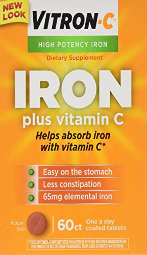Vitron C High Potency Iron Supplement with Vitamin C, 60 Count