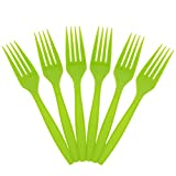 JAM Paper Big Party Pack of Premium Utensils - Plastic Forks - Lime Green - 100 Disposable Forks/Box