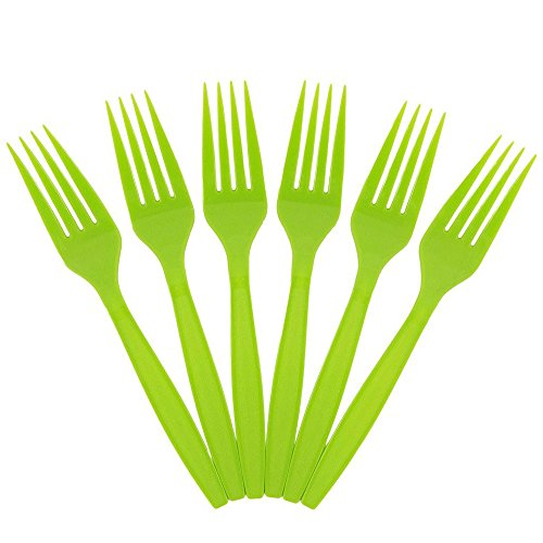 JAM Paper Big Party Pack of Premium Utensils - Plastic Forks - Lime Green - 100 Disposable Forks/Box by JAM Paper (Image #5)