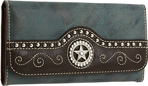 Womens Western Wallets - Blazin Roxx Women's Blue Star Wallet, Medium Blue, Brown, OS